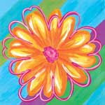 Vivid Daisy Stripe II - Contemporary mount print with beveled edge