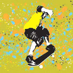Acidic Skater - Contemporary mount print with beveled edge