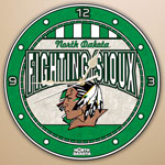 "North Dakota Fighting Sioux NCAA College 12"" Round Art Glass Wall Clock"