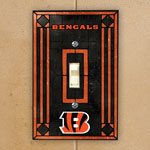 Cincinnati Bengals NFL Art Glass Single Light Switch Plate Cover