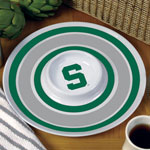 "Michigan State Spartans NCAA College 14"" Round Melamine Chip and Dip Bowl"
