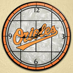 "Baltimore Orioles MLB 12"" Round Art Glass Wall Clock"