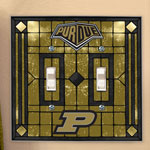 Purdue Boilermakers NCAA College Art Glass Double Light Switch Plate Cover