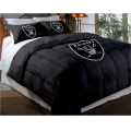 "Oakland Raiders NFL Twin Chenille Embroidered Comforter Set with 2 Shams 64"" x 86"""