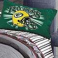 Green Bay Packers Queen Size Pinstripe Sheet Set