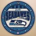 "Seattle Seahawks NFL 12"" Round Art Glass Wall Clock"