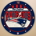 "New England Patriots NFL 12"" Round Art Glass Wall Clock"
