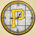 "Pittsburgh Pirates MLB 12"" Round Art Glass Wall Clock"