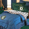 Oakland Athletics Team Denim Queen Size Comforter / Sheet Set