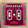 Arkansas Razorbacks NCAA College Art Glass Double Light Switch Plate Cover