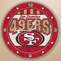 "San Francisco 49ers NFL 12"" Round Art Glass Wall Clock"