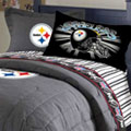 Pittsburgh Steelers Team Black Denim Twin Size Comforter / Sheet Set