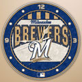 "Milwaukee Brewers MLB 12"" Round Art Glass Wall Clock"