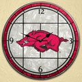 "Arkansas Razorbacks NCAA College 12"" Round Art Glass Wall Clock"