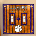 Clemson Tigers NCAA College Art Glass Double Light Switch Plate Cover