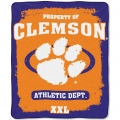 "Clemson Tigers College ""Property of"" 50"" x 60"" Micro Raschel Throw"