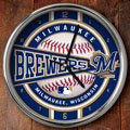 "Milwaukee Brewers MLB 12"" Chrome Wall Clock"