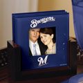 Milwaukee Brewers MLB Art Glass Photo Frame Coaster Set