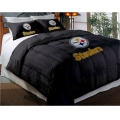 "Pittsburgh Steelers NFL Twin Chenille Embroidered Comforter Set with 2 Shams 64"" x 86"""