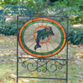 Miami Dolphins NFL Stained Glass Outdoor Yard Sign
