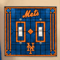 New York Mets MLB Art Glass Double Light Switch Plate Cover