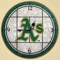 "Oakland Athletics MLB 12"" Round Art Glass Wall Clock"