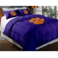 "Clemson Tigers College Twin Chenille Embroidered Comforter Set with 2 Shams 64"" x 86"""