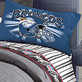 Denver Broncos Queen Size Pinstripe Sheet Set