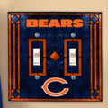 Chicago Bears NFL Art Glass Double Light Switch Plate Cover