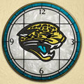 "Jacksonville Jaguars NFL 12"" Round Art Glass Wall Clock"