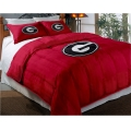 "Georgia Bulldogs College Twin Chenille Embroidered Comforter Set with 2 Shams 64"" x 86"""