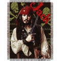 "Pirates of Caribean Just Jack 48"" x 60"" Metallic Tapestry Throw"