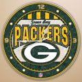 "Green Bay Packers NFL 12"" Round Art Glass Wall Clock"