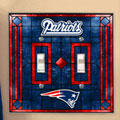 New England Patriots NFL Art Glass Double Light Switch Plate Cover