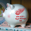 Detroit Redwings NHL Ceramic Piggy Bank