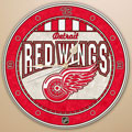 "Detroit Redwings NHL 12"" Round Art Glass Wall Clock"
