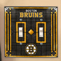 Boston Bruins NHL Art Glass Double Light Switch Plate Cover