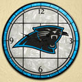 "Carolina Panthers NFL 12"" Round Art Glass Wall Clock"