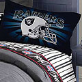 Oakland Raiders Twin Size Pinstripe Sheet Set