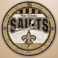 "New Orleans Saints NFL 12"" Round Art Glass Wall Clock"