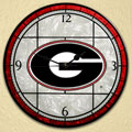 "Georgia UGA Bulldogs NCAA College 12"" Round Art Glass Wall Clock"