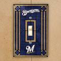 Milwaukee Brewers MLB Art Glass Single Light Switch Plate Cover