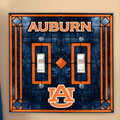 Auburn Tigers NCAA College Art Glass Double Light Switch Plate Cover