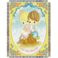 "Precious Moments Love One Another 48"" x 60"" Metallic Tapestry Throw"