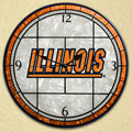 "Illinois Illini NCAA College 12"" Round Art Glass Wall Clock"