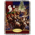"Polar Express Santa Flight Holiday 48"" x 60"" Metallic Tapestry Throw"