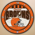 "Cleveland Browns NFL 12"" Round Art Glass Wall Clock"