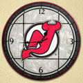 "New Jersey Devils NHL 12"" Round Art Glass Wall Clock"