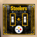 Pittsburgh Steelers NFL Art Glass Double Light Switch Plate Cover