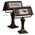 New England Patriots NFL Art Glass Bankers Lamp